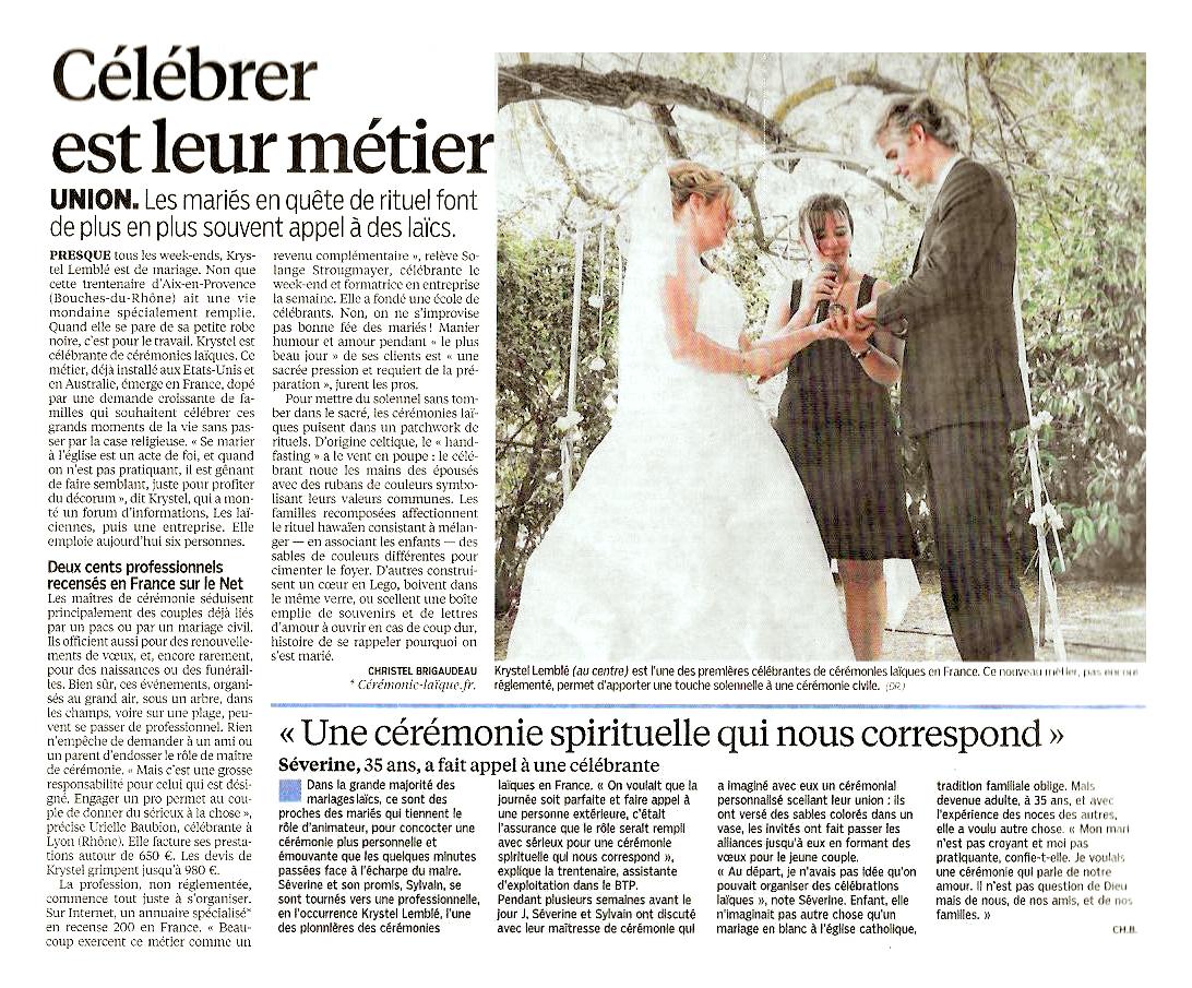 L'article sur les célébrants et les cérémonies laïques personnalisées du Journal Le Parisien